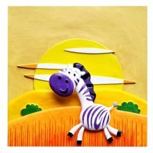 [Running Zebra] 3D Paint-By-Number Kits DIY Painting Crafts for Kids Over 5Y