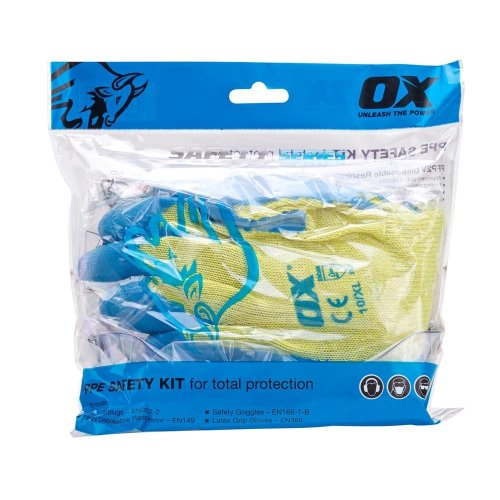OX PPE Safety Kit - 1 x FFP2 Masks, Ear Plugs, Grip Gloves, Safety Goggles In Polybag