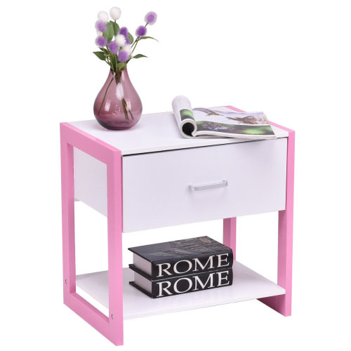 Nightstand Bedside Table Storage Cabinet Wooden W/ Drawer Pink