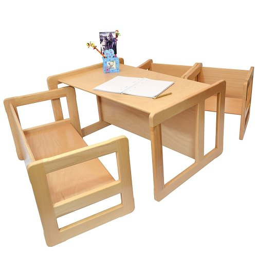 Obique Multifunctional Furniture: 1 Table, 2 Chairs & 1 Bench, Natural