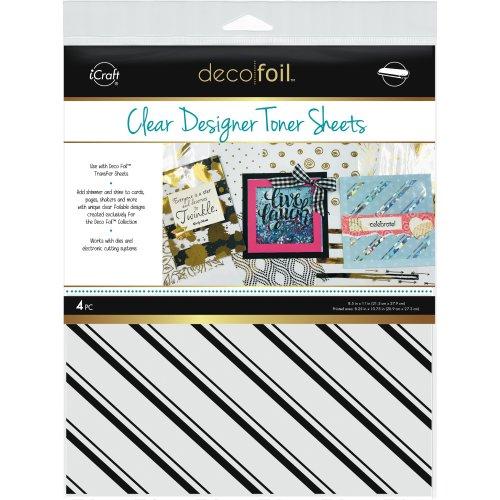 """Deco Foil Clear Toner Sheets 8.5""""X11"""" 4/Pkg-Pinstripes"""