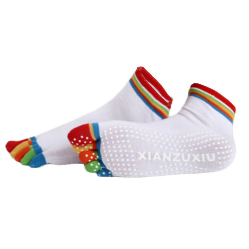 Women's Non Slip Full Toe Yoga Socks With Grip 2 Pairs Set,Rainbow Toe/White