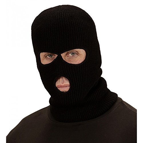 Widmann Wdm03318 Mask Balaclava-black, One Size -  black balaclava mask robber thief loot fancy dress ski knitted sas army undercover money bag bank