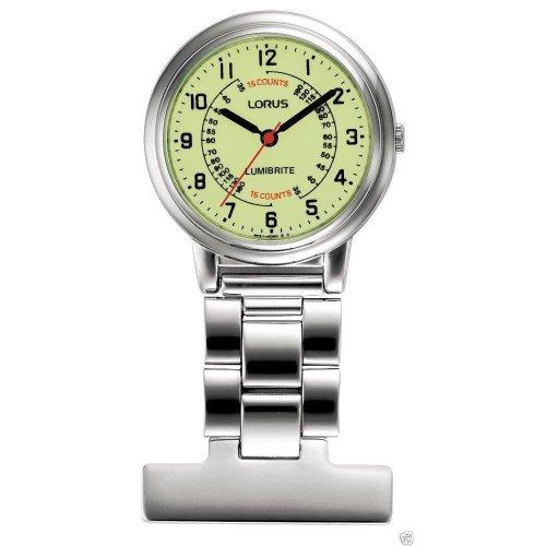 Lorus Nurses Fob Watch - Stainless Case with Lumibrite Dial RG253CX9