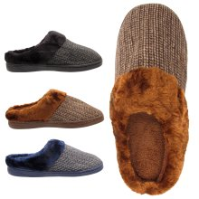 05890510028 Mens knit fur lined winter slippers mules