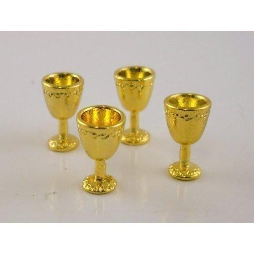 Dollhouse Miniature 1 12 Scale 4 Pc Antique Gold Goblets SET G8175