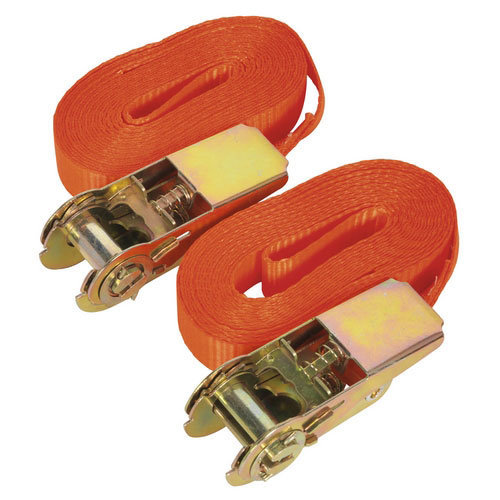 Sealey TD08045E 25mm x 4.5mtr Self-Securing Ratchet Tie Down 800kg Load Test - Pair