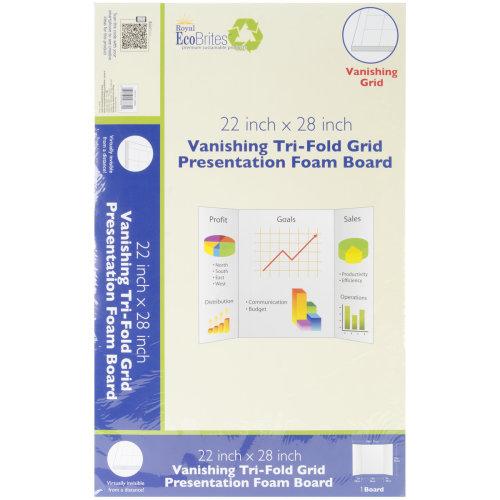 "Royal Brites Vanishing Grid Tri-Fold Foam Board 22""X28""-White"