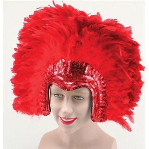 Ladies Red Feather Headdress -  deluxe feather headdress fancy red purple gold black hat