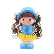 Pretty Girl Piggy Bank for Saving Money Coin Bank Home Decor Ornaments Blue Hat