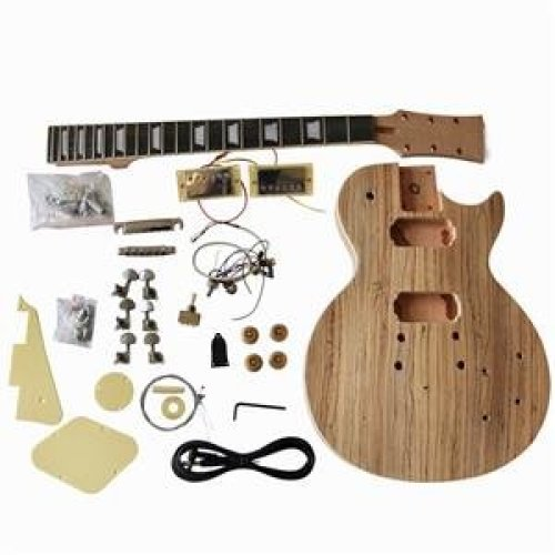 DIY electric guitar DIY kit GD790 LP style 1 or 2 Part Solid Mahogany body with Zebrawood Veneer