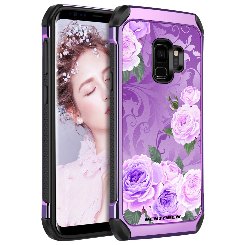 new concept 7a006 35ba5 Galaxy S9 Case, Samsung S9 Case Purple, BENTOBEN Ultra Slim Fit Dual Layer  Luxury Hybrid Hard PC Laminated with Colorful Faux Leather Shockproof...