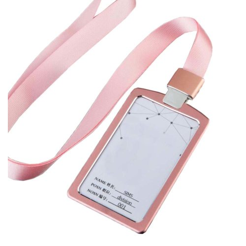 Aluminum Alloy Vertical Style ID Card Badge Holder with Neck Lanyard Strap 3PCS, 26