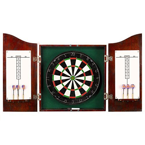 Hathaway Centerpoint Solid Wood Dartboard And Cabinet Set Dark Cherry Finish