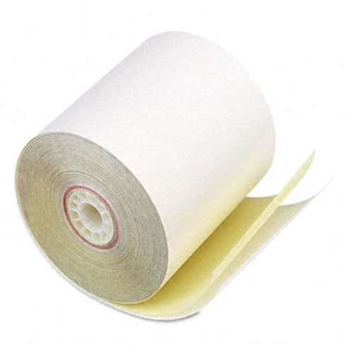 "PM Company 07706 Two-Ply Receipt Rolls- 3"" x 90 ft- White/Canary- 50/Carton"