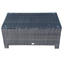 Outsunny Brown Rattan Coffee Table Garden Furniture with Tempered Glass