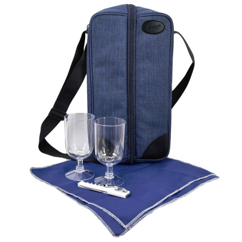 2 Person Insulated Denim Wine Bottle Cooler with Accessories