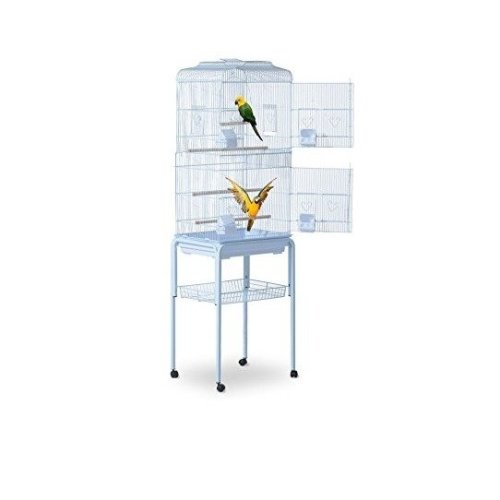 PawHut Large Metal Wheeled Bird Cage With Feeding Tray & Breeding Stand