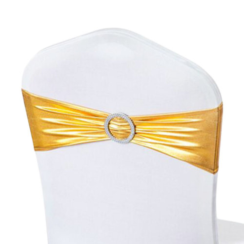10PCS Chair Back Wedding Bow Sashes Chair Cover Bands With Buckle-Bright Gloden