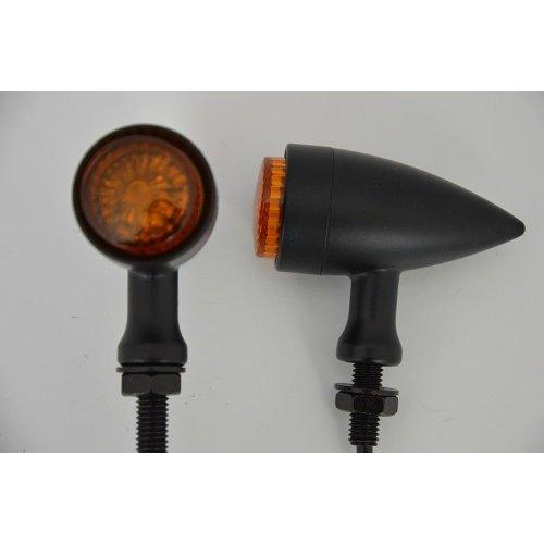Motorcycle Motorbike Stylish Torpedo LED Indicators Turn Signals Matte Black