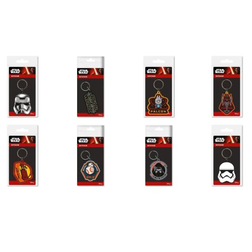 Set of 8 x STAR WARS EPISODE 7 Key Rings KeyChains Perfect Party Bag Fillers