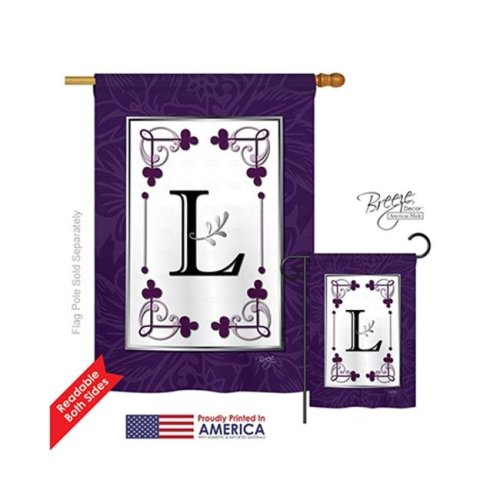 Breeze Decor 30012 Classic L Monogram 2-Sided Vertical Impression House Flag - 28 x 40 in.