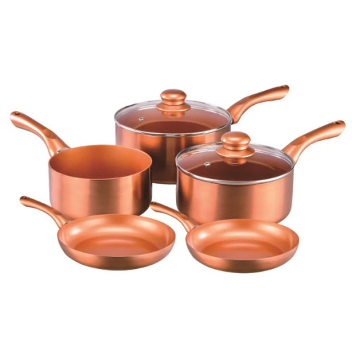 5pc Cermalon Copper Cookware Set | Copper Pot & Pan Set