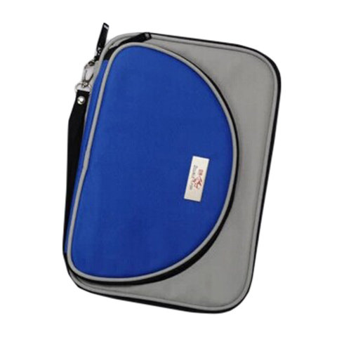 Cool Oblong Table Tennis Racket Cover Ping Pong Bat Bag Blue/Gray