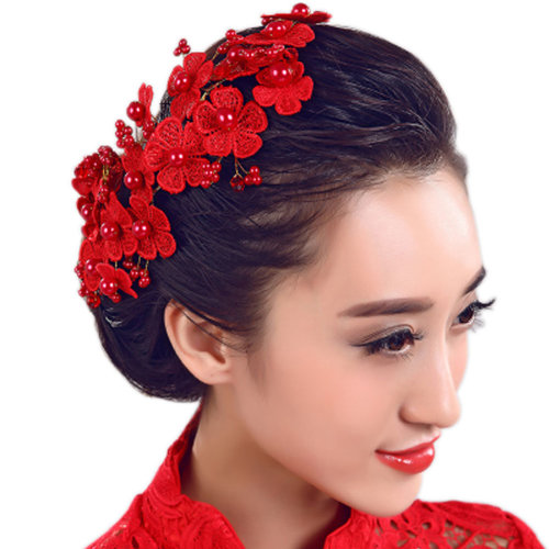 Flower Rhinestones Beads Bridal Wedding Lace Headband Hair Accessories, H