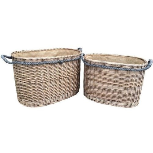 Set 2 Oval Rope Handled Log Baskets