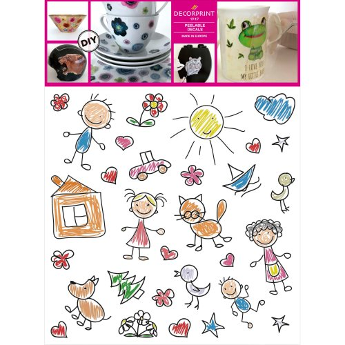 "Decorprint Peelable Decals 7.75'X7.75""-Childrens Drawings"