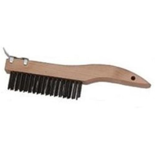 Laitner Brush LAI946 4 x 16 in. Row Bristles Wire Scratch Brush, 10 in. Wooden Shoe Handle with Scraper