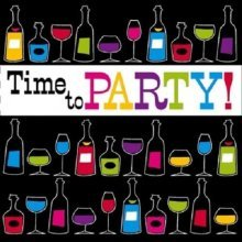 Ti-Flair Pack of 20 Napkins / Serviettes - Time To Party - 33cm x 33cm - 3ply