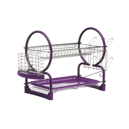 2 Tier Dish Drainer with Drip Tray - Purple