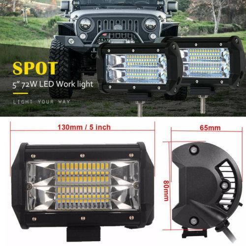 1x 5 Inch 72W CREE LED Work Light Bar Car Flood Offroad Fog Lamp 4WD Jeep SUV