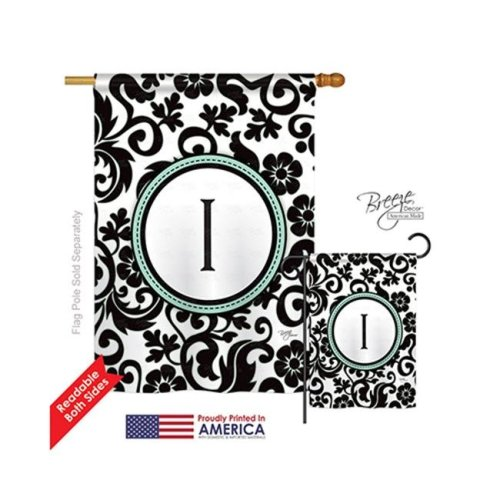 Breeze Decor 30061 Damask I Monogram 2-Sided Vertical Impression House Flag - 28 x 40 in.