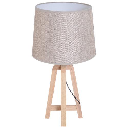 HOMCOM Bedside Table Lamp DresserSolid Oak Wood Holder Soft Light Glow E27 Base Bedroom Living Room