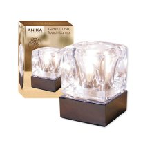 Anika Stunning Chrome & Glass Ice Cube Bright Halogen Lamp Table Bedside Touch Lamp