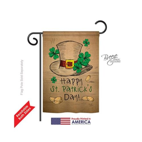 Breeze Decor 52031 St Pats St Pats Hat 2-Sided Impression Garden Flag - 13 x 18.5 in.