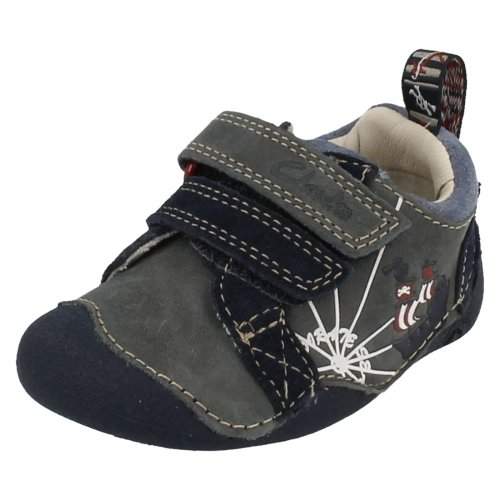 Boys Clarks First Shoes Cruiser Ship - Navy Leather - UK Size 2F - EU Size 17.5 - US Size 2.5M