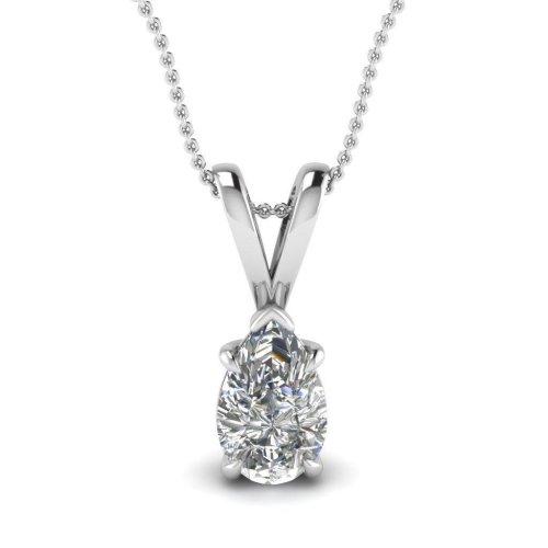 Solitaire Pear Cut 1.00 Carat Diamond Lady Necklace Pendant 14K White Gold