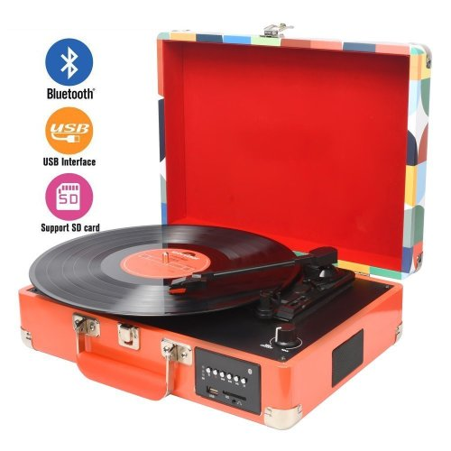 DIGITNOW! Record player Turntable with Multi-function Bluetooth/ FM Radio/ USB to MP3 Recorder/ SDcard/PC Recording, Rechargeable battery and...