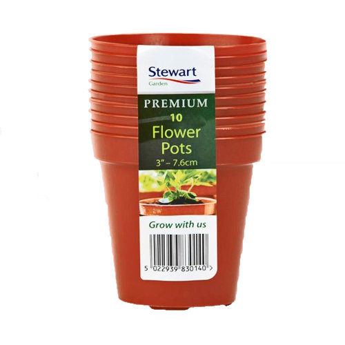 "3"" Pack Of 10 Terracotta Flower Pots - 10x Stewarts Flower Pot 3"" Plant Pots Planters Gardening Garden Accessory"