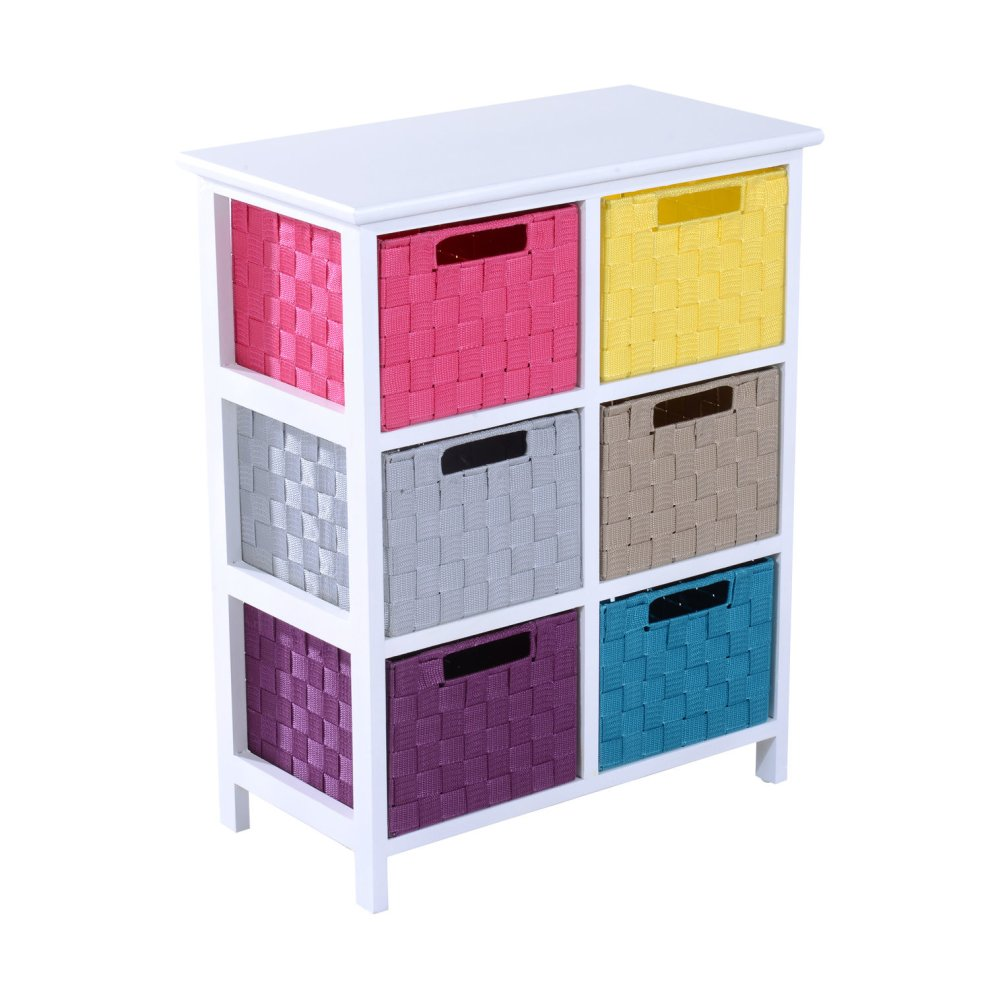 Homcom 3 tier 6 multicoloured drawers storage cabinet for Bathroom drawers