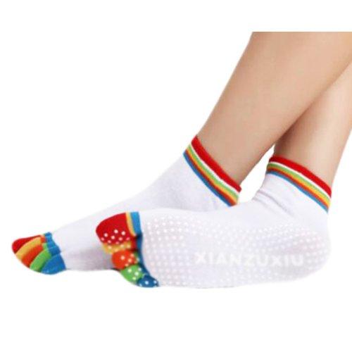 Thicken White Non Slip Warm Socks Cotton Toe Yoga Socks