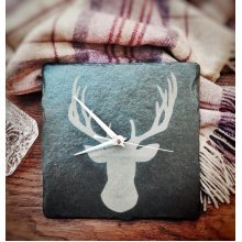 Stag Head Design Square Slate Clock - 22cm - Wall Mounting