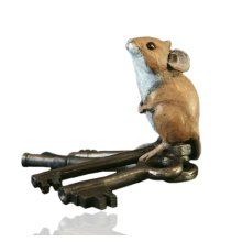 Cold Cast Bronze Mouse On Keys - Hand Painted - Michael Simpson.