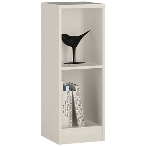 Sheek Danish Made Low Narrow Bookcase - Pearl White - 2 Shelf