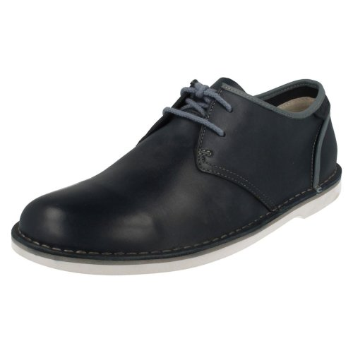 Mens Clarks Casual Lace Up Shoes Marden Grove - Navy Leather - UK Size 9.5G - EU Size 44 - US Size 10M