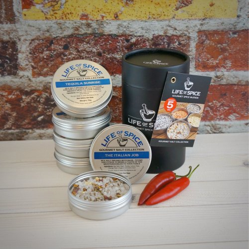 Life of Spice Gourmet Salt Collection - Sea Salt, Rosemary, Basil, Ginger, Garlic, Chipotle and Chilli Flakes